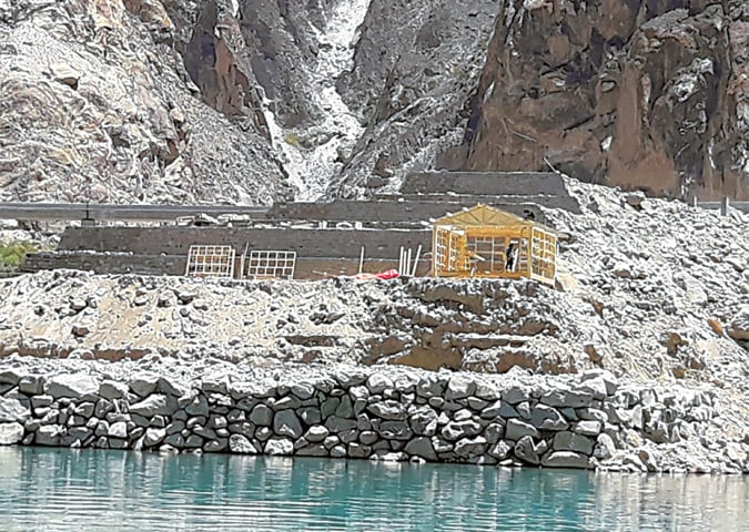 A VIEW of the under-construction resort on the banks of the Attabad Lake in a file photo taken in June. The 59-room resort will feature a rooftop restaurant, conference halls and an amusement park.