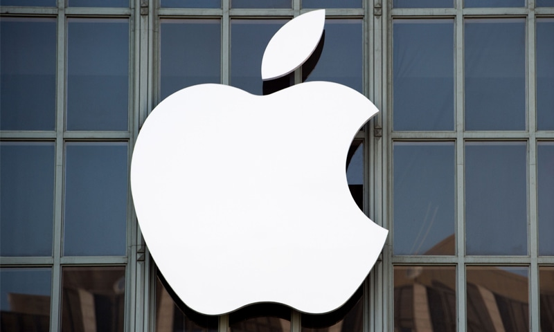 Apple logo is seen on the outside of Bill Graham Civic Auditorium in San Francisco, California.—AFP