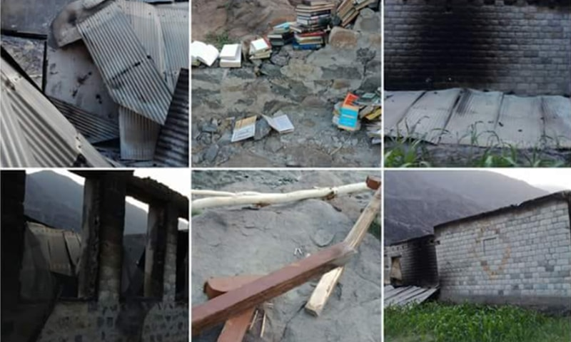 چلاس میں شرپسندوں کی جانب سے نذر آتش کیے جانے والے اسکول — فوٹو: عمر باچا