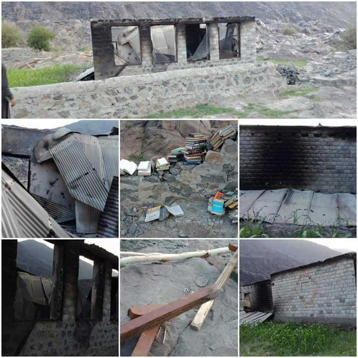 A collage showing various girls' schools that were set on fire overnight in Diamer. ─ Photo by Umar Bacha