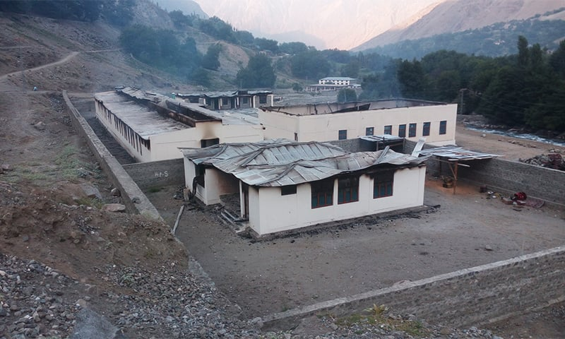 A school in Darel which was set on fire. Photo by Umar Bacha