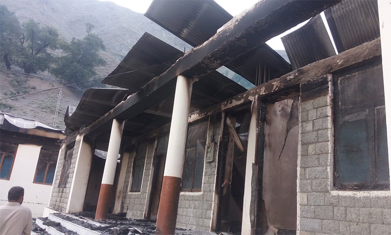 A view of a burnt school in Diamer. Photo by Umar Bacha