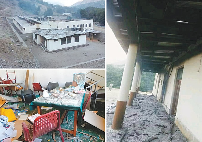(Top left) A school building after the attack. (Right) A view of the damaged verandah and (bottom left) a room littered with broken furniture.—Photos by Umar Bacha