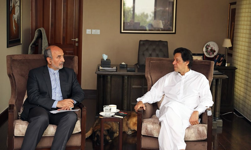 Iranian ambassador meets PTI chief in Banigala on Saturday. — Photo courtesy PTI