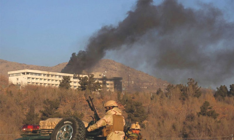 Black smoke rises from the Intercontinental Hotel after an attack in Kabul, Afghanistan, on Jan 21, 2018