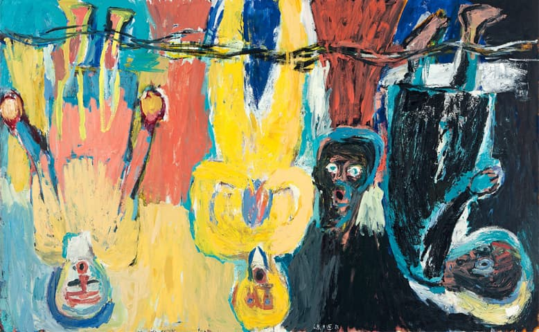 Georg Baselitz's 'The Brucke Chorus (Der Bruckechor)' from 1983. Copyright Georg Baselitz-Private Collection-Christie's Images Limited