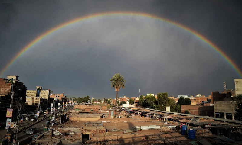 A rainbow forms over Peshawar after sporadic drizzling | Shahbaz Butt/White Star