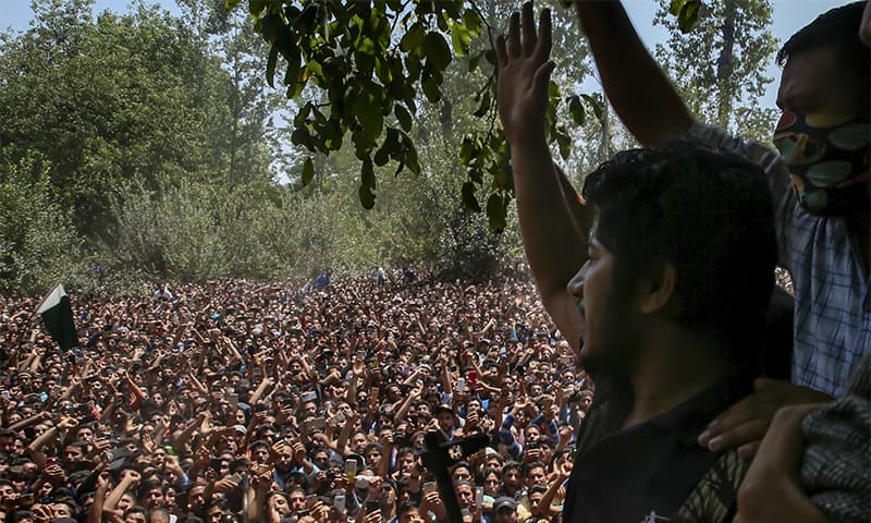 Gun battle, protests in held Kashmir leave six dead