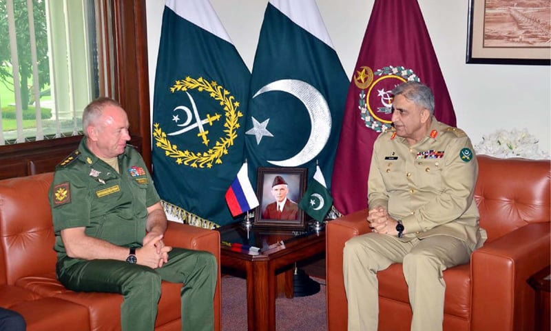 RAWALPINDI: Chief of the Army Staff Gen Qamar Javed Bajwa and Russian Deputy Defence Minister Col Gen Alexander Fomin pictured during a meeting on Tuesday.—PPI