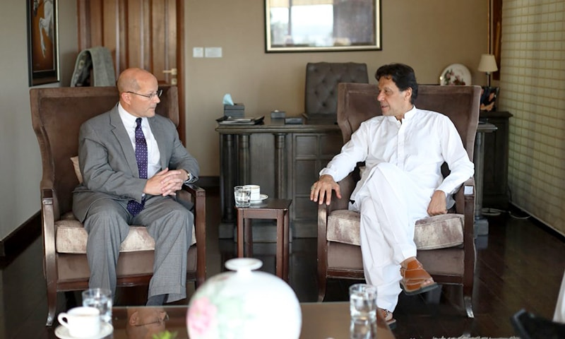 The acting US Ambassador to Pakistan John Hoover in conversation with prime-minister-to-be Imran Khan at his Banigala residence