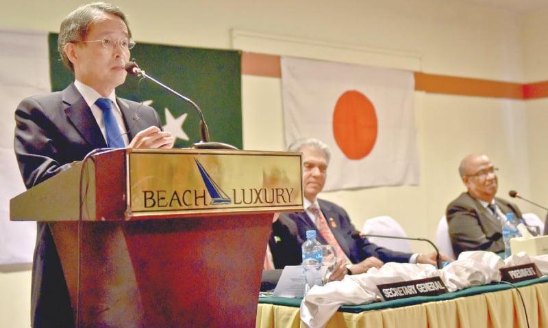 JAPANESE Ambassador Takashi Kurai speaks at a local hotel on Wednesday.—White Star
