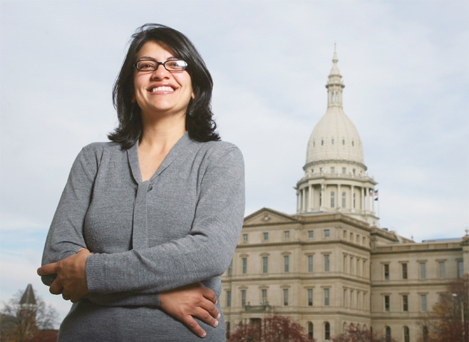 Rashida Tlaib, a Democrat, is photographed outside the Michigan Capitol building. The Michigan primary victory of Tlaib, who is expected to become the first Muslim woman and Palestinian-American to serve in the US Congress, is rippling across the Middle East. In the West Bank village where Tlaib's mother was born, residents are greeting the news with a mixture of pride and hope that she will take on a US administration widely seen as hostile to the Palestinian cause.—AP