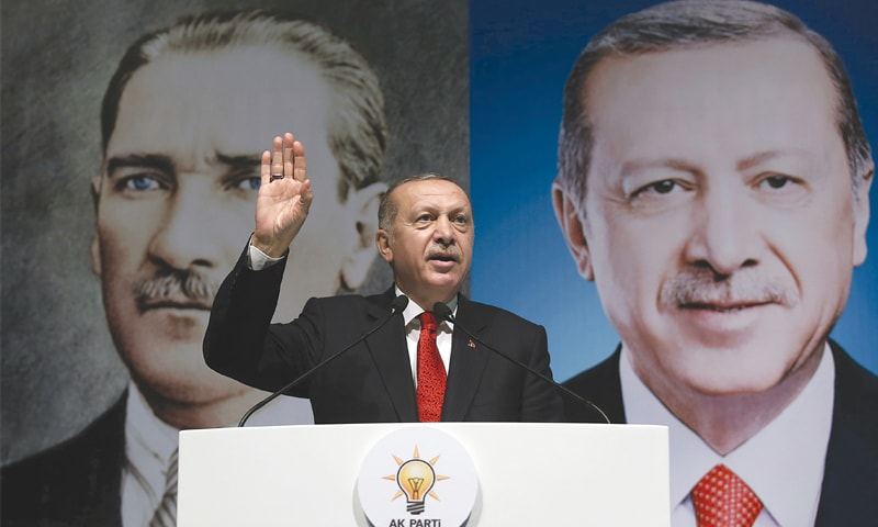 Turkish President Tayyip Erdogan addressing members of his ruling AK Party in Rize.—AFP