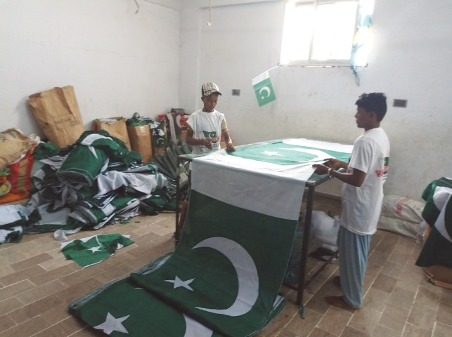 Cutting the printed flags