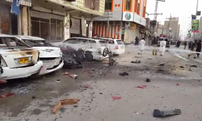 Miscreants target a vehicle carrying FC personnel in Mall road area of Chaman. —DawnNewsTV