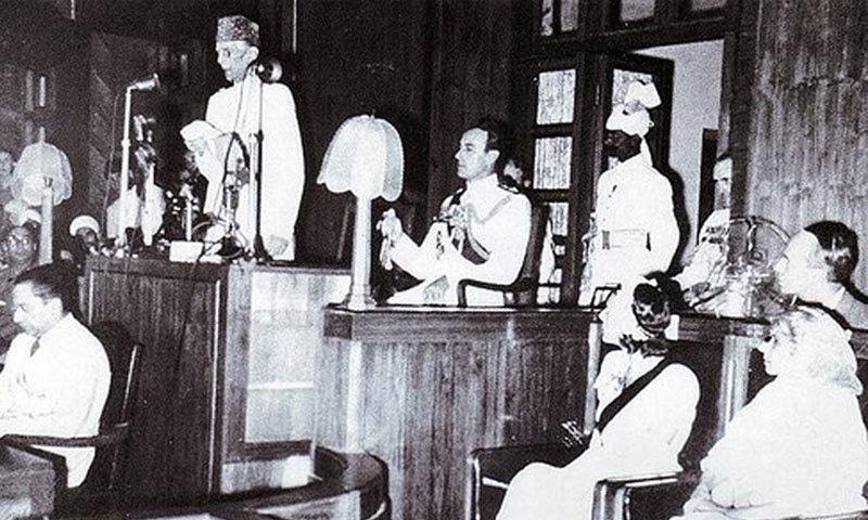11 اگست کو محمد علی جناح پہلی آئین ساز اسمبلی میں تقریر کررہے ہیں —فائل فوٹو: نیشنل اسمبلی