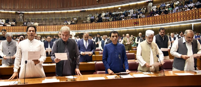 PTI chairman Imran Khan and other lawmakers take oath. — Photo courtesy: NA Secretariat