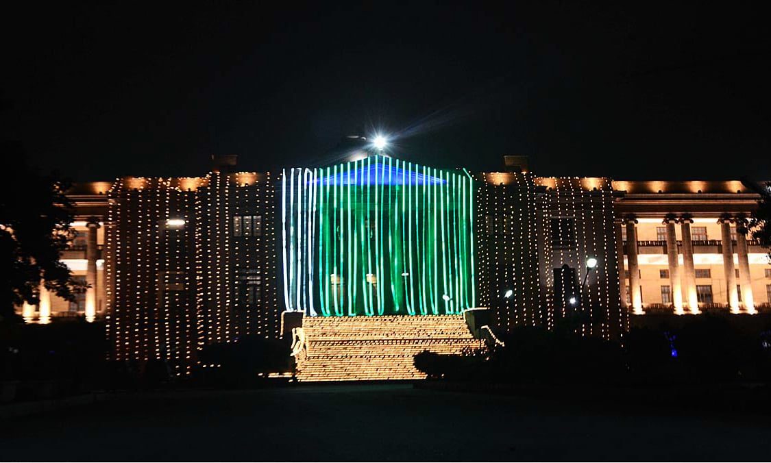 An illuminated view of Sindh High Court building decorated with lights in connection with 71st Independence Day celebrations. —APP