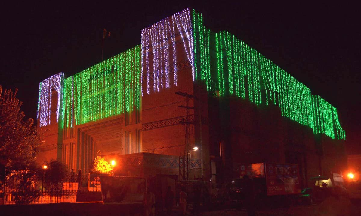 An illuminated view of Arts Council building in Multan decorated in connection with Independence Day celebrations. —APP