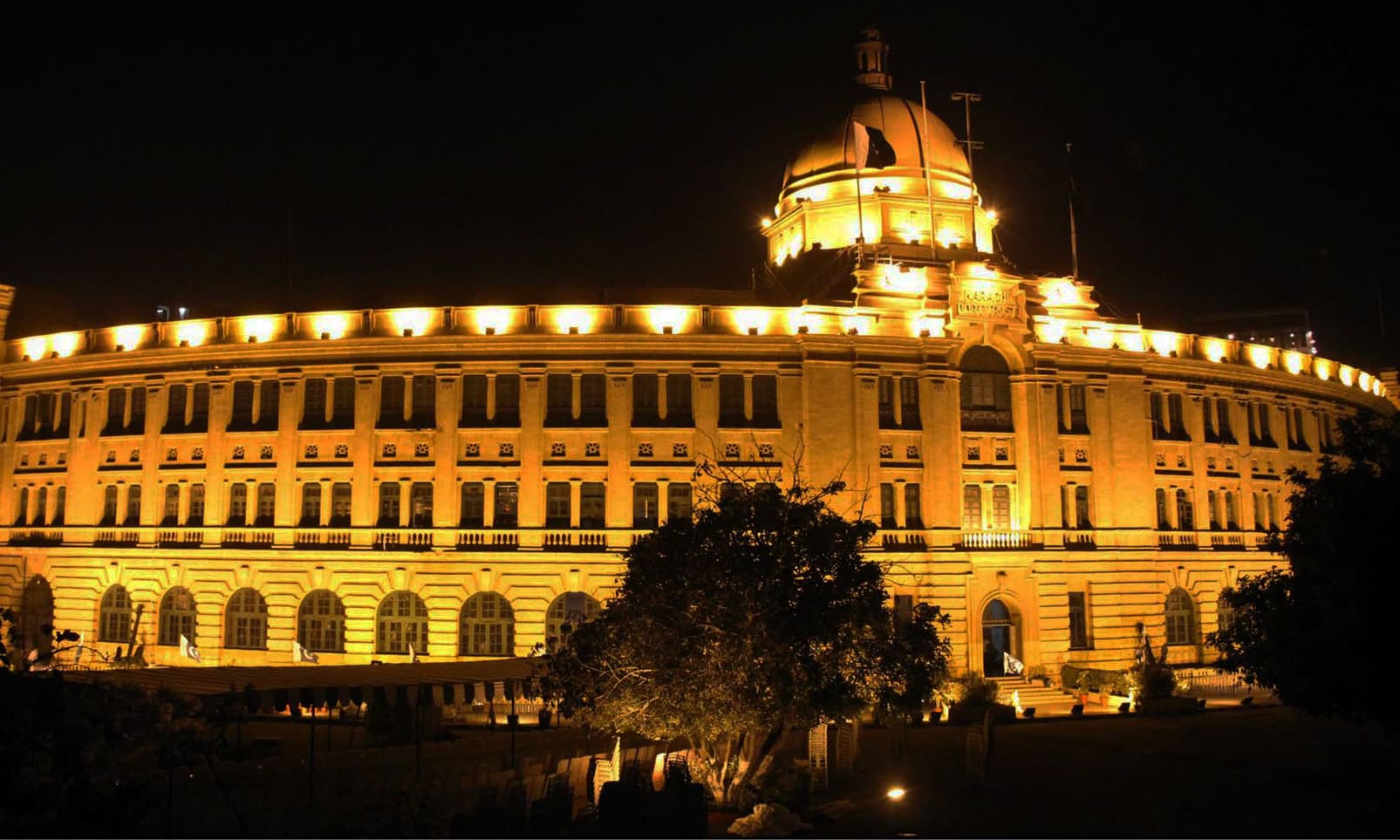 Illuminated view of KPT Building in Karachi. —Online