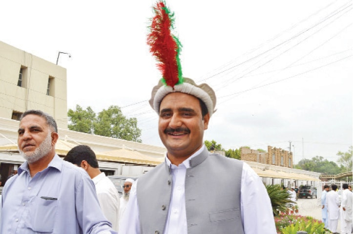 Wazirzada arrives at the KP Assembly for taking oath. — White Star