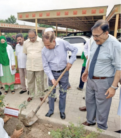 Vice-chancellor Prof Dr Arshad Javaid plants a sapling at the KMU main campus in Peshawar on Monday. — Dawn