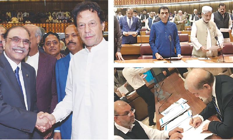 (Left) PPP co-chairman Asif Ali Zardari and PTI chief and prime minister-in-waiting Imran Khan shake hands during the oath-taking session of the National Assembly on Monday. (Top right) MQM's Khalid Maqbool Siddiqui, BNP leader Akhtar Mengal, PTI's candidate for speaker Asad Qaiser and other members take oath. (Bottom right) PML-N president Shahbaz Sharif signs the Roll of the Members.—Agencies