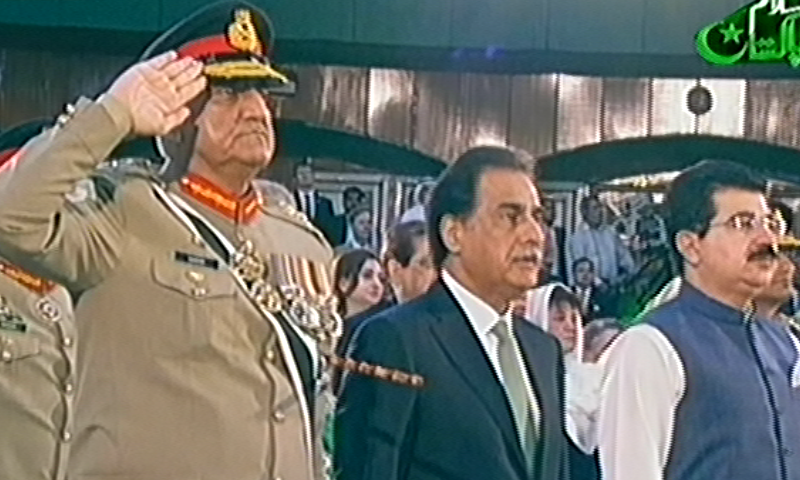 Army chief Gen Qamar Javed Bajwa, NA speaker Ayaz Sadiq and Senate chairman Sadiq Sanjrani attend the independence day ceremony. — PTV screengrab