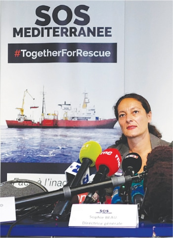 PARIS: Sophie Beau, general director of SOS Mediterranee France, at a press conference on Tuesday.—AP