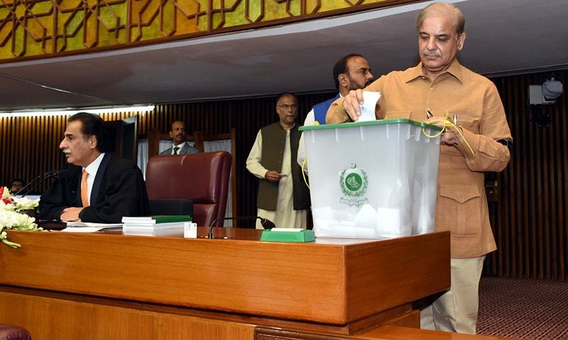 PML-N President Shahbaz Sharif casts his vote for NA speaker. ─ NA Secretariat
