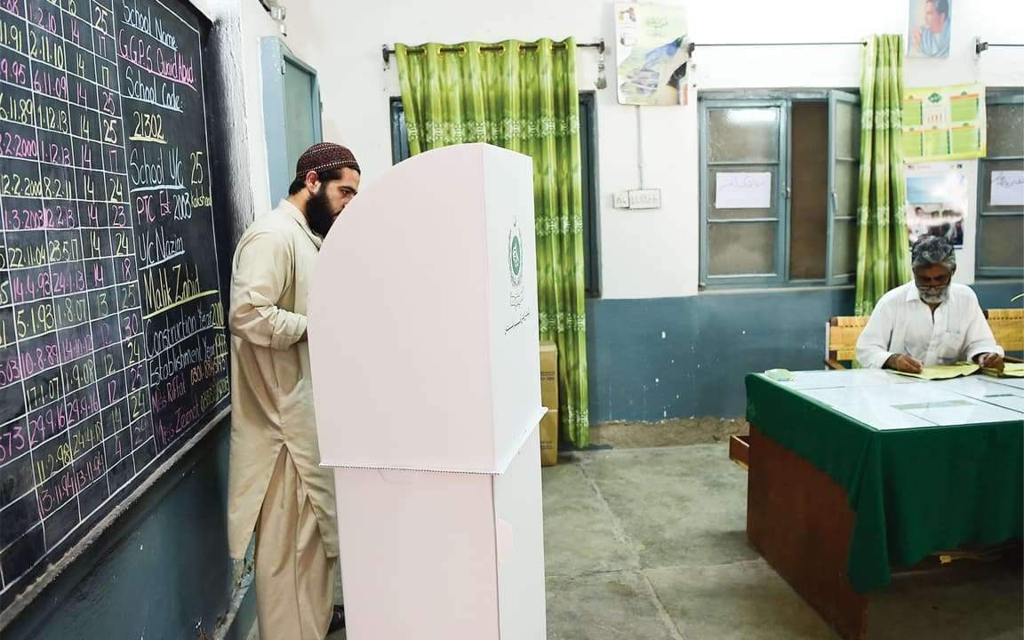 A man casting his vote in Peshawar | Ghulam Dastageer