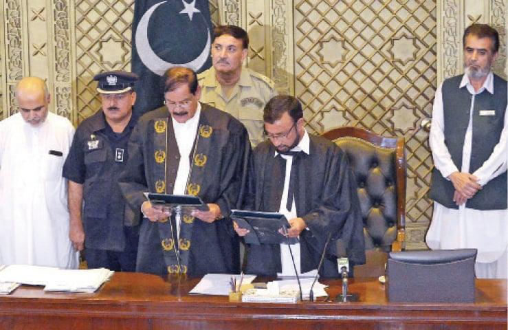 Newly-elected KP Assembly Speaker Mushtaq Ahmed Ghani takes oath in Peshawar on Wednesday. — White Star