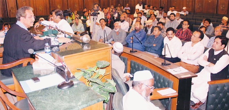MAYOR Wasim Akhtar presides over the session of the City Council on Wednesday.—PPI
