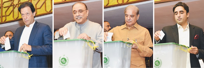 ISLAMABAD: Imran Khan, Asif Ali Zardari, Shahbaz Sharif and Bilawal Bhutto-Zardari cast their votes for National Assembly speaker on Wednesday.—White Star
