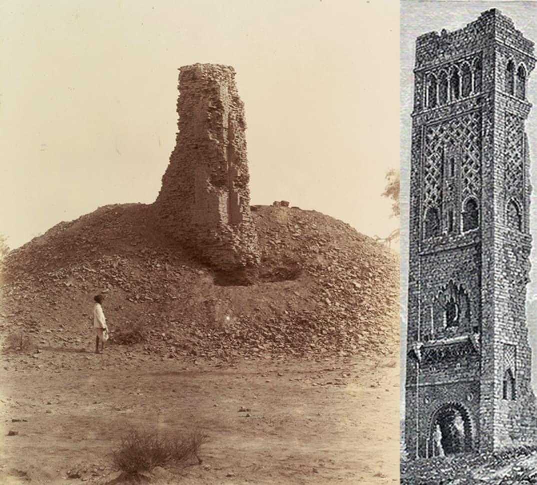 ٹاور کی ایک پرانی تصویر اور  کھدائی سے قبل ٹاور