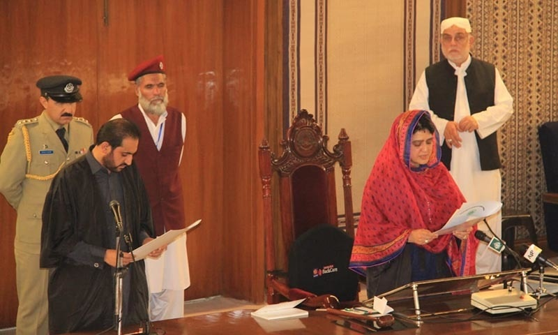 Outgoing speaker Rahila Durrani administers oath to Mir Abdul Quddus Bizenjo — Asmatullah Kakar
