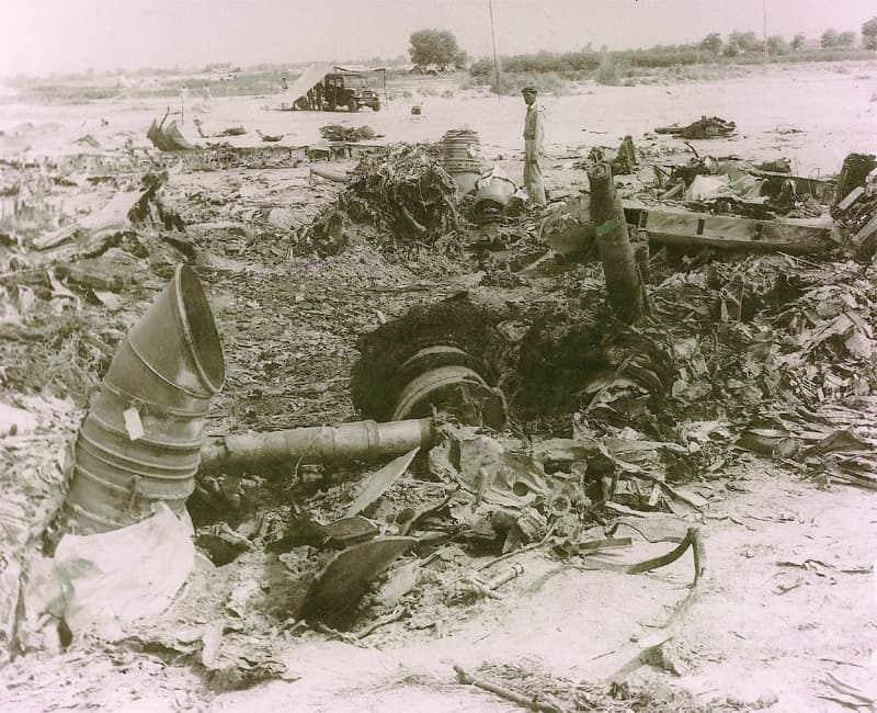 THE wreckage of Pak-1 a few miles from the Bahawalpur airfield.
