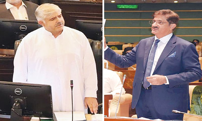 (Left) Pakistan Tehreek-i-Insaf's Mahmood Khan speaking in the Khyber Pakhtunkhwa Assembly after his election as chief minister on Thursday. (Right) Syed Murad Ali Shah of Pakistan Peoples Party gestures during his inaugural speech as chief minister in the Sindh Assembly.—Online