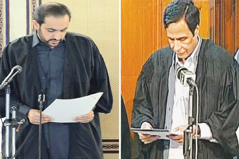 QUETTA: Abdul Qudoos Bizenjo (left) and Pervaiz Elahi (right) take the oath as speakers of the Balochistan and Punjab assemblies, respectively, on Thursday.