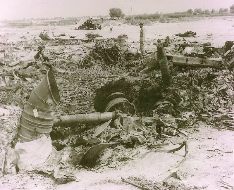 The wreckage of Pak-1 a few miles from the Bahawalpur airfield. — White Star
