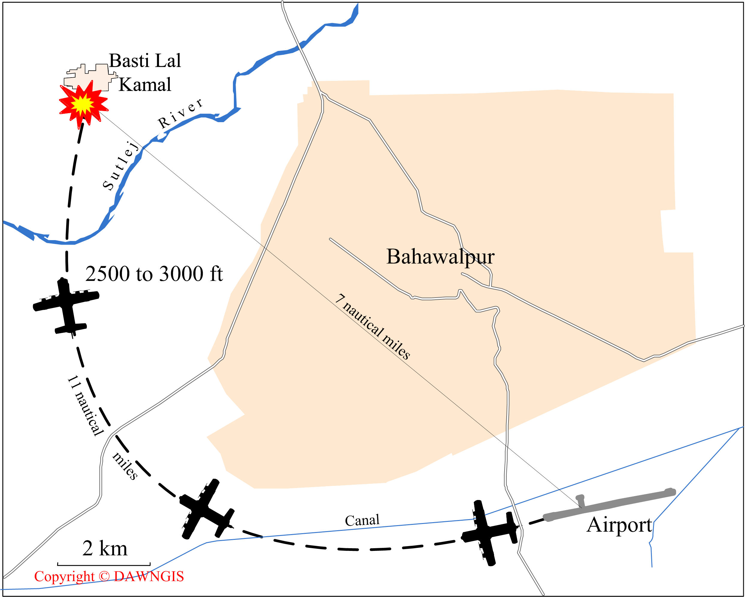 Map showing the route taken by Pak-1 before it crashed across the Sutlej river near Basti Lal Kamal.
