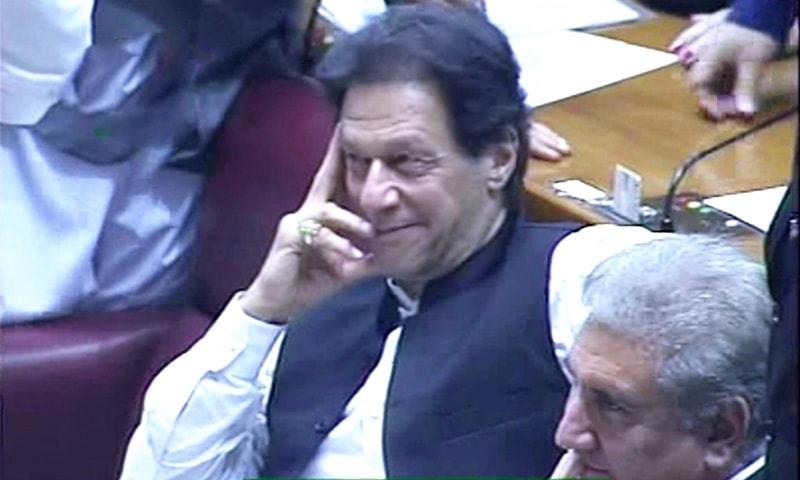 Imran Khan smiles moments after being announced as the prime minister-elect. ─ DawnNewsTV
