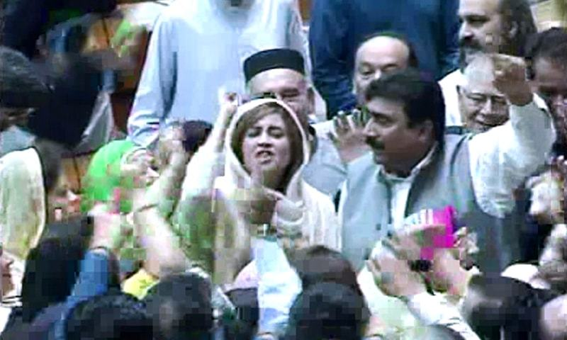 PML-N lawmakers protest after announcement of results. ─ DawnNewsTV