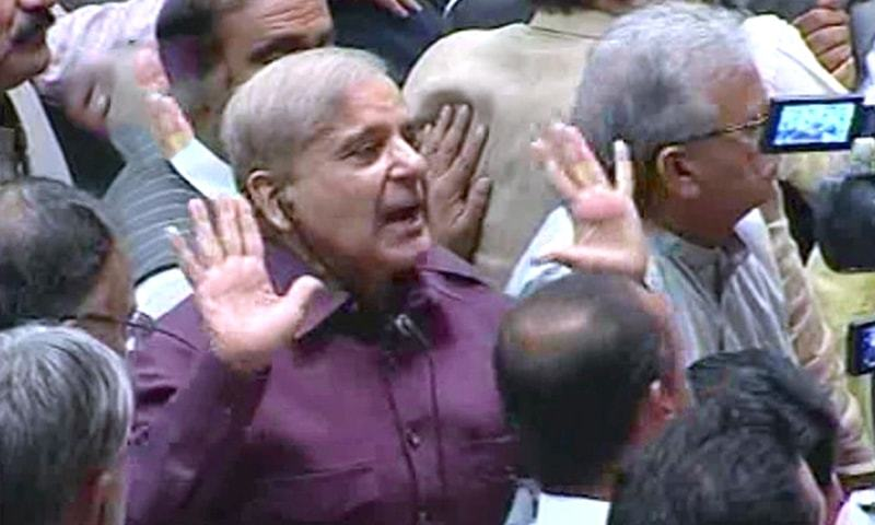 Shahbaz Sharif addresses the House after Imran Khan. ? DawnNewsTV