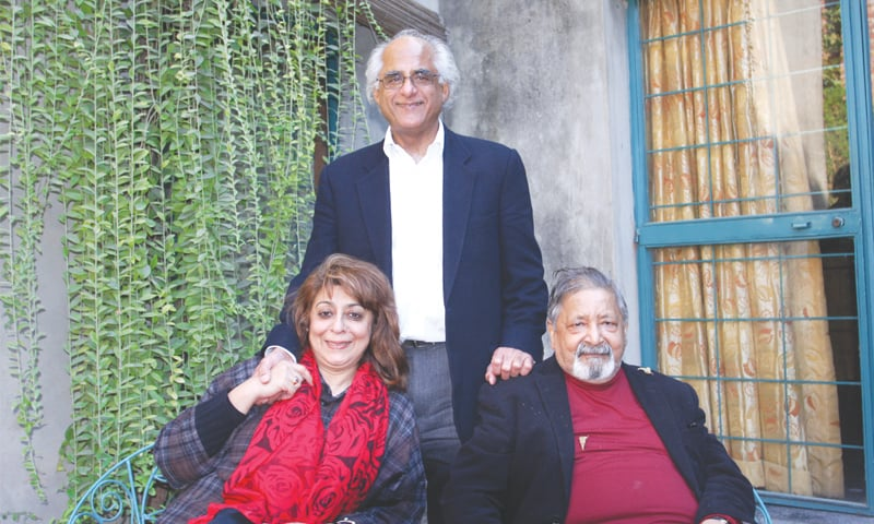 The writer with V.S. Naipaul (right) and his wife, Nadira (left)