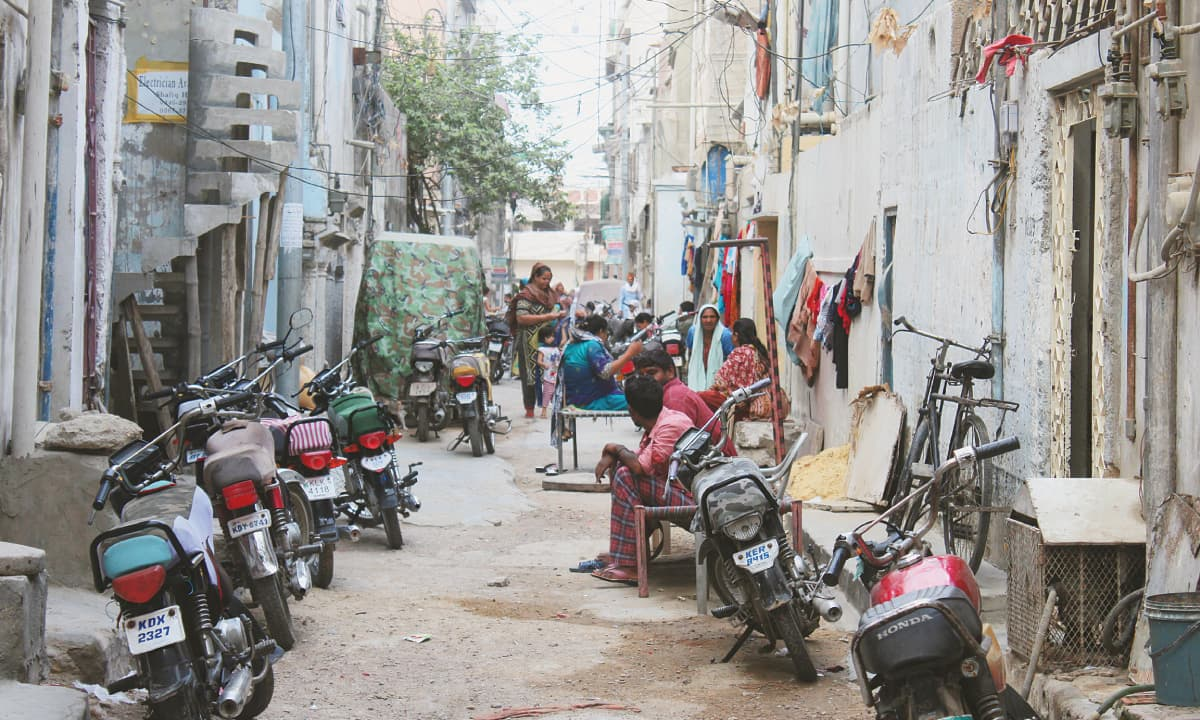 A street in Karachi's neighbourhood of Youhanabad | Bilal Karim Mughal