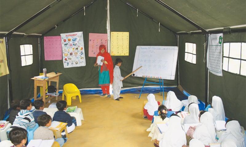 A classroom inside a tent