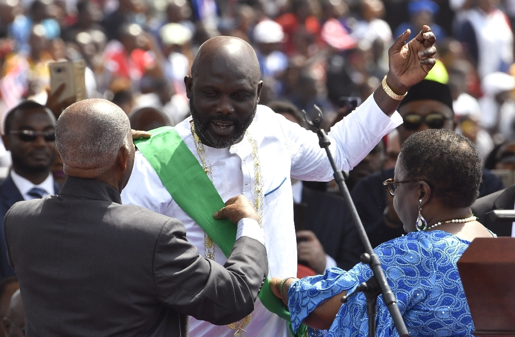 George Weah at his swearing-in ceremony in the capital Monrovia on January 22. ─ AFP