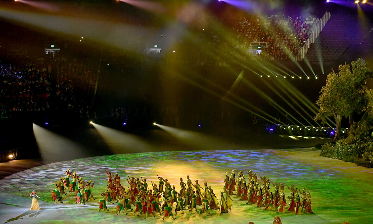 Dancers perform during the opening ceremony of the 2018 Asian Games. —AFP
