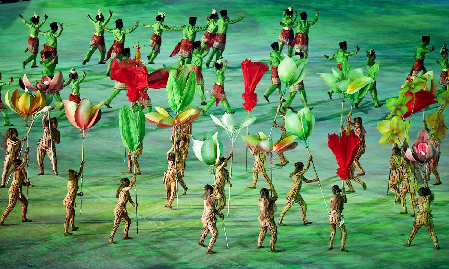 An eye-catching performance during the opening ceremony. —AFP